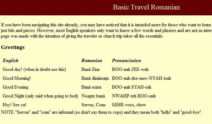 Basic Romanian for Travelers -