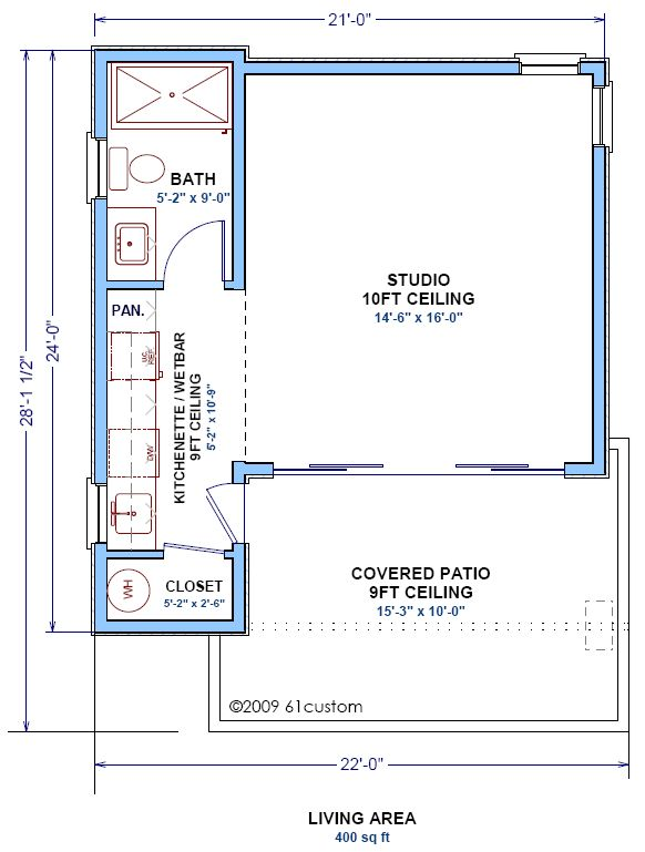the plan is a single room modern guest house plan with a kitchenettewetbar and one bathroom use it as a studio home office or guest house