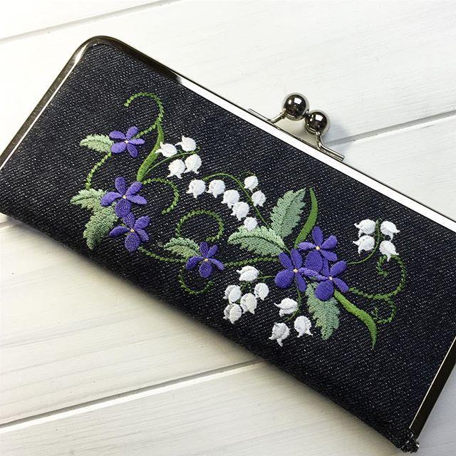 #embroidery #刺繍#長財布#がま口