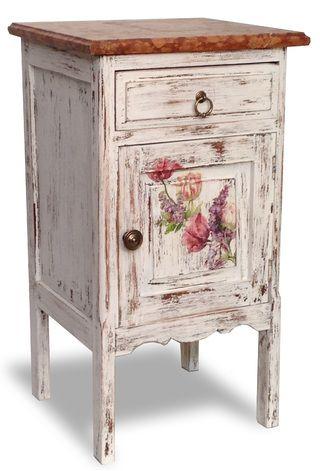 Antigua mesa de luz reciclada con flores y tapa de marmol for Como reciclar una mesa de televisor antigua