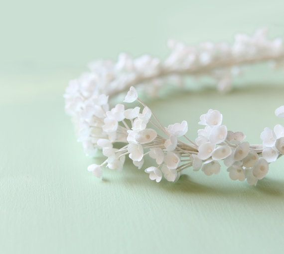 White flower crown, Bridal hair, Boho flower headpiece, ivory wedding hair band, artificial baby's breath - AMORE