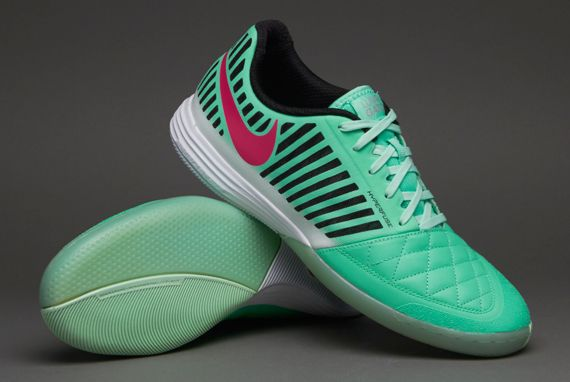 Nike Football Boots - Nike Lunargato II - Fives - Indoor - Soccer Cleats - Green Glow-Pink Foil