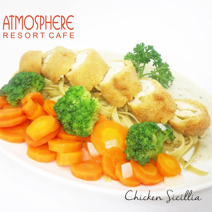 Fried chicken breast roll with fettucine, carrot & brocolli, in cheesy basil sauce