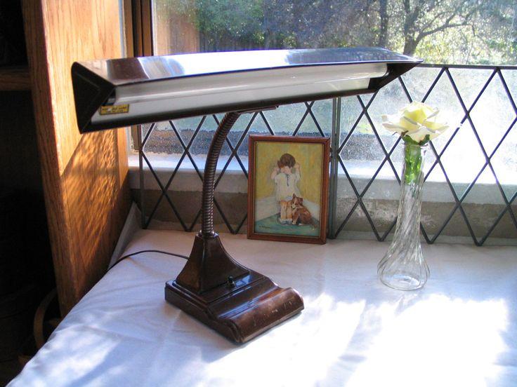 stationary desk lamp flex arm gooseneck brown desk table lamp mid century  light desk light retro decor mid century decor by Itzvintagedarling on Etsy