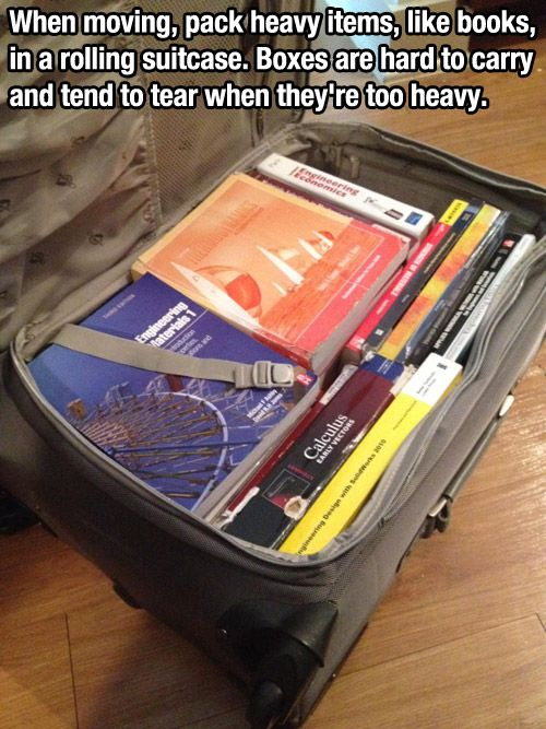 moving books in a rolling suitcase - I can't believe I've never thought of this with all the times I've moved!