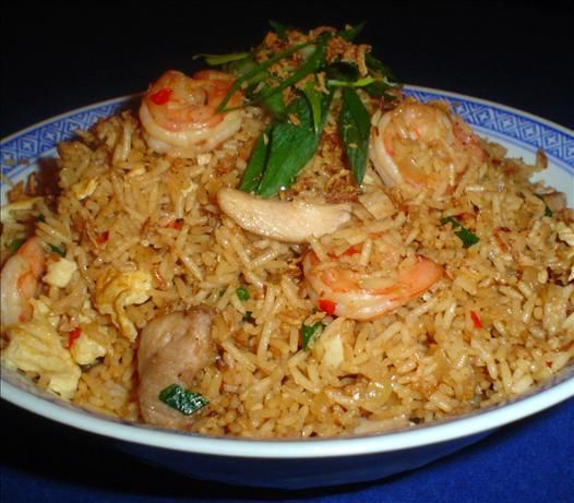 Indonesian Fried Rice (Nasi Goreng) from Food.com. Used sambel oelek and ketjap manis. One of several suggesttions from our good friend Pete whose lineage is Dutch and U kranian. Oh, the recipes he has.