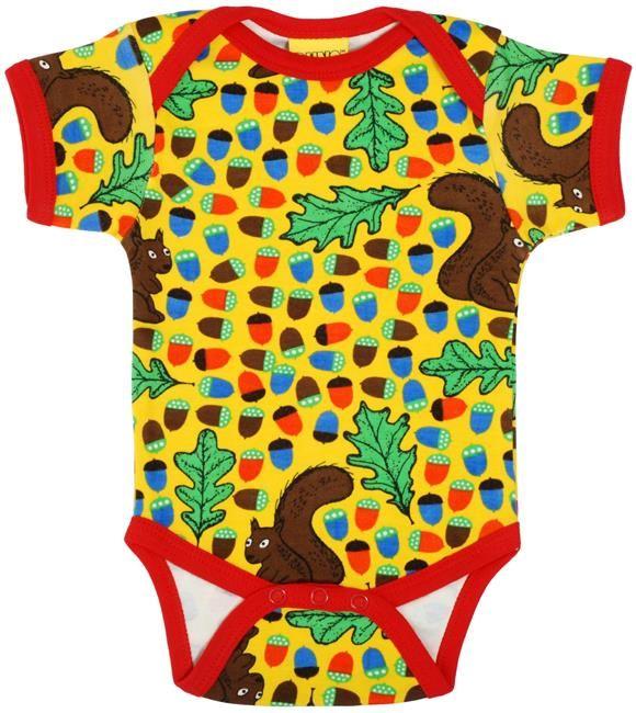 Duns s/s bodysuit - Yellow Squirrel & Acorn Retro Baby Clothes - Baby Boy clothes - Danish Baby Clothes - Smafolk - Toddler clothing - Baby Clothing - Baby clothes Online