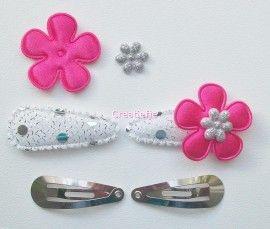 Zelf haarspeldjes maken fuchsia roze en zilverkleur van 3.5 cm.