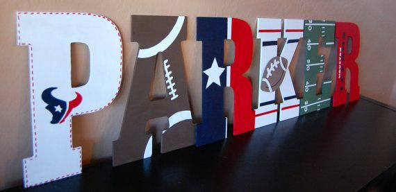 NFL football nursery wall letters. Houston texans Great baby shower or birthday gift!