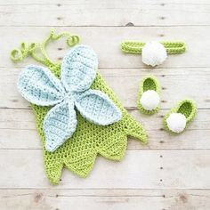 Crochet Baby Tinkerbell Fairy Princess Inspired Dress Bow Headband Shoes Set Costume Dress Up Handmade Disney Inspired Baby…