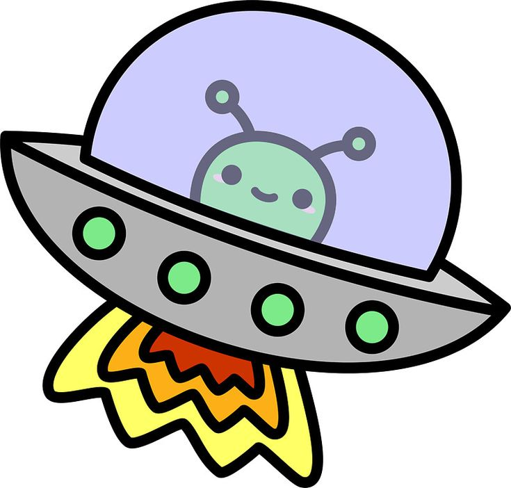 Cute alien in ufo in space : Sticker : Aliens, Spaces and UFO