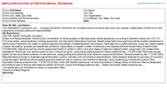 view the cover letter example dental technician job application specialist kennel film connu lab