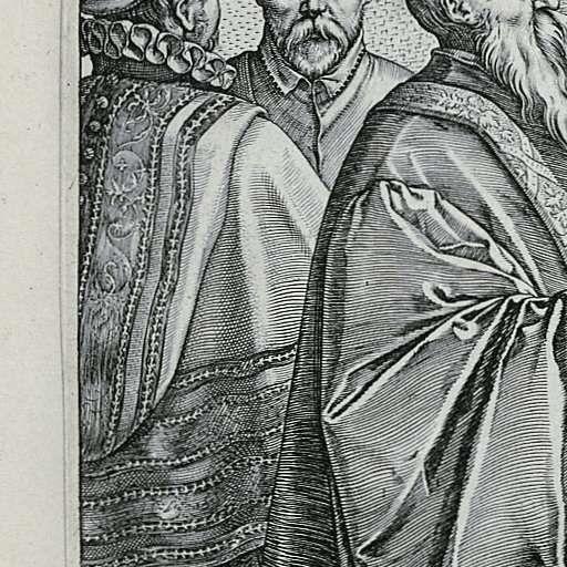 De Venetiaanse bruiloft, Hendrick Goltzius, 1584 - Rijksmuseum.  Neat cloak with decorative hood.