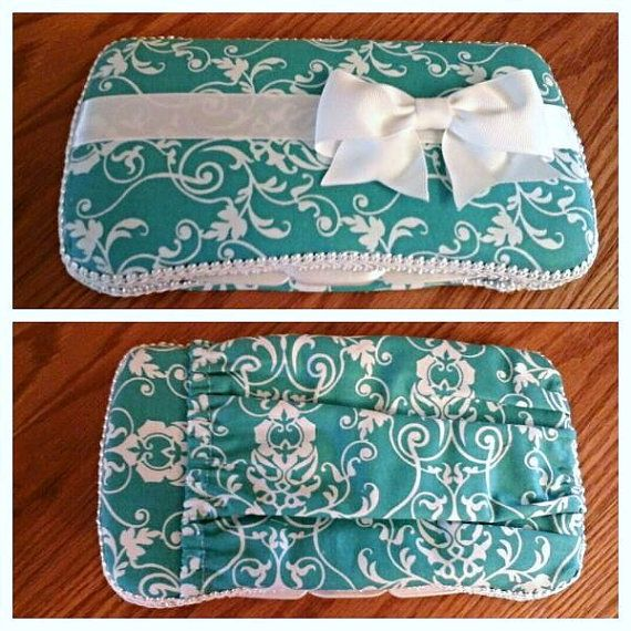 Travel Baby Wipe Case Aqua Wipe Case Wipes Case by BeeKrafty