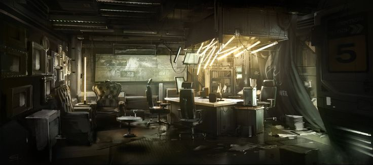 Burke's Room concept art by Eric Gagnon for the Deus Ex: Human Revolution Missing Link DLC