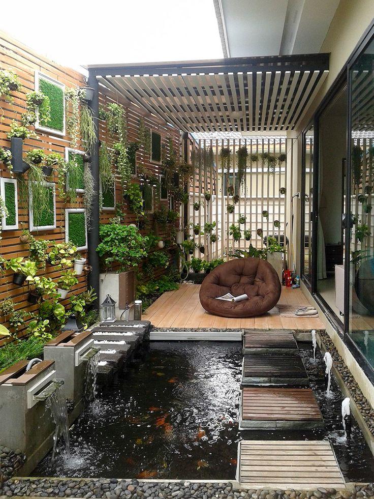 จัดสวนบ่อปลาคาร์ฟ มุมพักผ่อนชิล ๆ ณ บ้านคุณโจ การออกแบบ