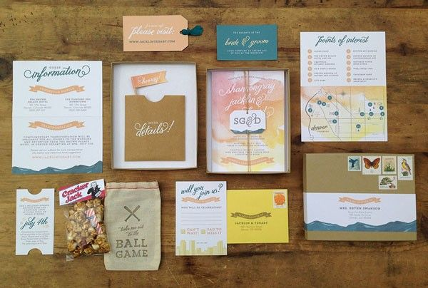 luxurious wedding invitation suite with baseball game theme