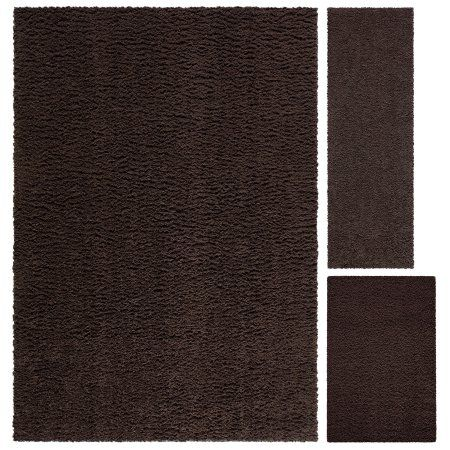 Mainstays Manchester Shag 3-Piece Area Rug Set, Brown
