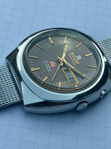 Ricoh-Mens-Watch-21J-Automatic-Mechanical-metallic-brown-dial-Original-Crown