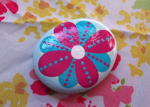 Hand Painted Flower Stone