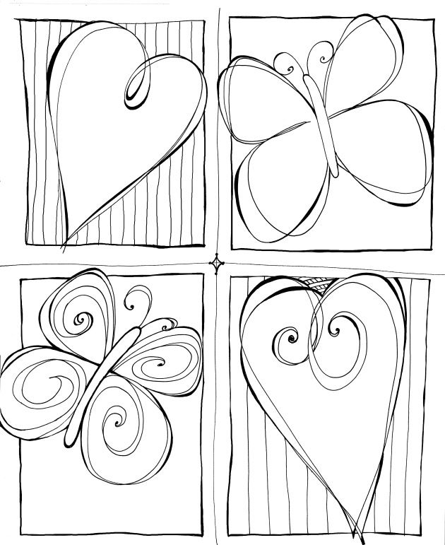 Zenspirations - Gallery - butterfly heart quad.jpg would be cute w colors to match girls bedroom. Wall art