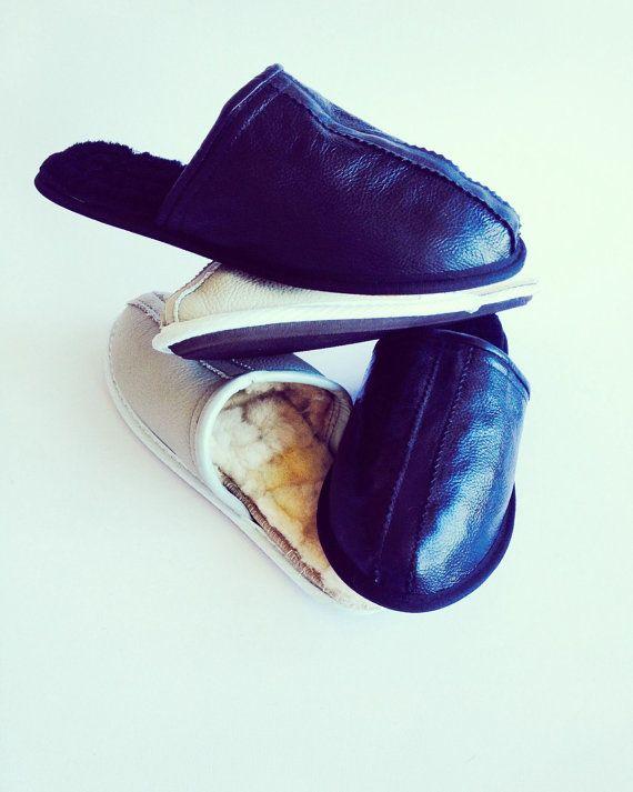 Men slippers leather slippers lamb fur by ShtereviHandmade on Etsy