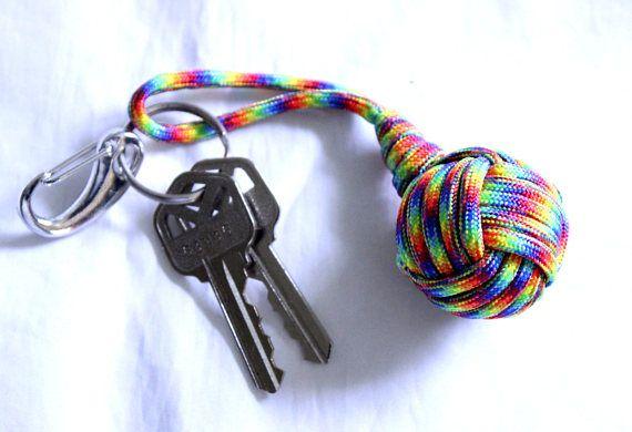 Rainbow Paracord Key Chain Rainbow Monkey Paw Key Chain