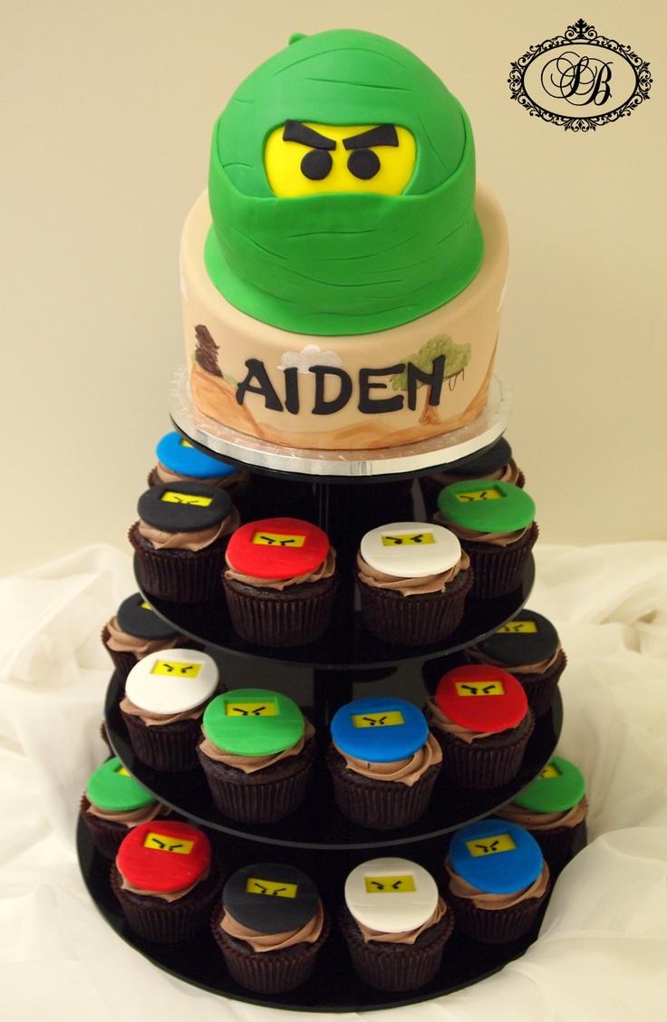Lego ninjago cake and cupcakes