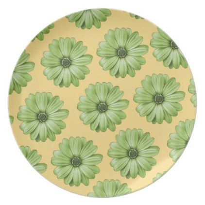Yellow and Light Green Tropical Floral Print Dinner Plate - flowers floral flower design unique style
