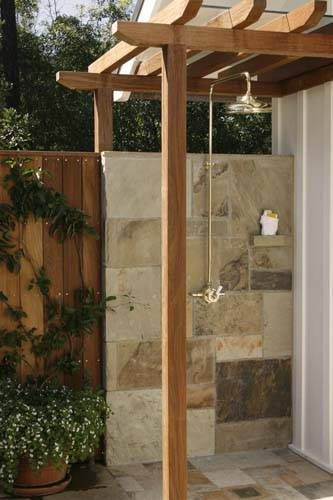 Love the Pergola and built in shelf...shelf needs to be deeper for shampoo, etc.