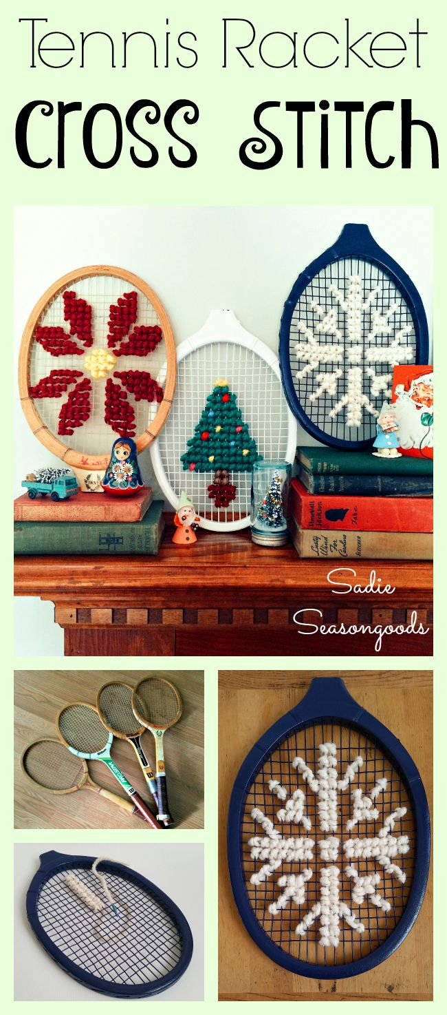 Sadie Seasongoods: Upcycled Repurposed thrift store vintage tennis rackets for oversize cross stitch with Flamingo Toes pattern