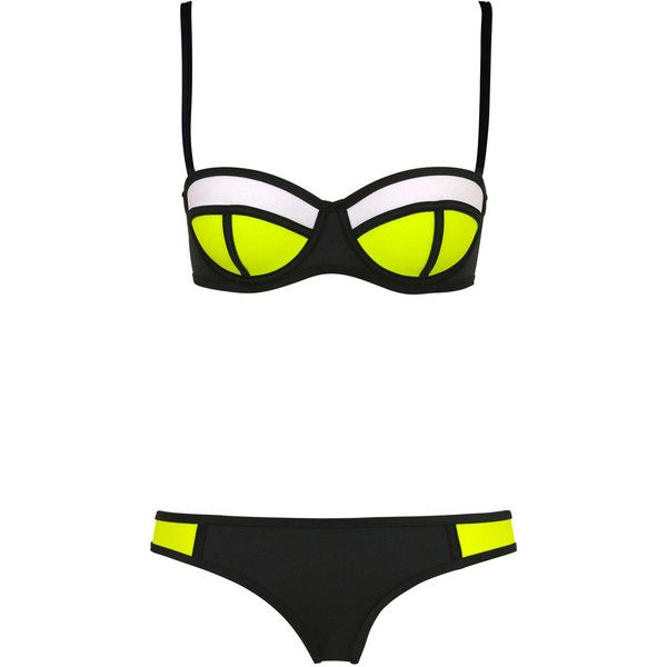 Black Lemonade Neoprene Push Up Bikini Top & Bottom Set ($15) ❤ liked on Polyvore featuring swimwear, bikinis, bikini, swim, swimsuits, push up swimsuits, neoprene bikini swimsuit, swim tops, push up bikini and tankini swimsuit tops