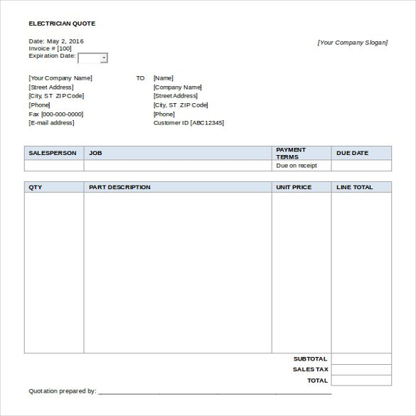 Quotes Template Word Quote Template Invoice Template Word Quotation Format