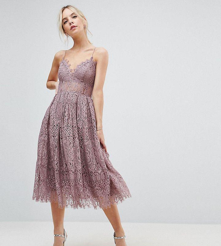 Asos Lace Cami Midi Prom Dress Petite Midi Dress Gowns Dresses Lace Dress