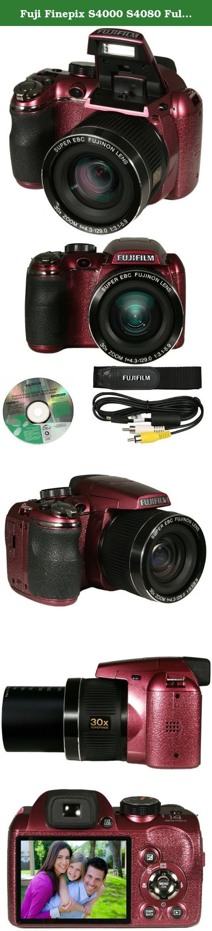 """Fuji Finepix S4000 S4080 Full 720p HD 14MP Digital Camera w/ 30x Optical Zoom, 3"""" TFT LCD (Plum). Highly Regarded by Professionals World-wide The widely renown Fujinon Lenses are used popularly in numerous situations including satellites in outer space, TV/film, surveillance, and compact cameras. With the highly adept manufacture of Fujifilm, high precision optic and technology are provided for the best 24mm wide angle and 30x optical zoom. - 24mm Wide Angle 14 Megapixels - With Vivid…"""