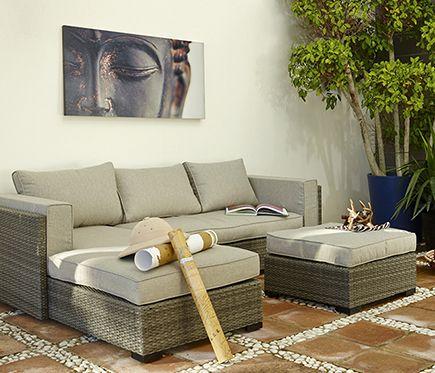 Set de aluminio y rat n sint tico coimbra leroy merlin for Set muebles jardin baratos
