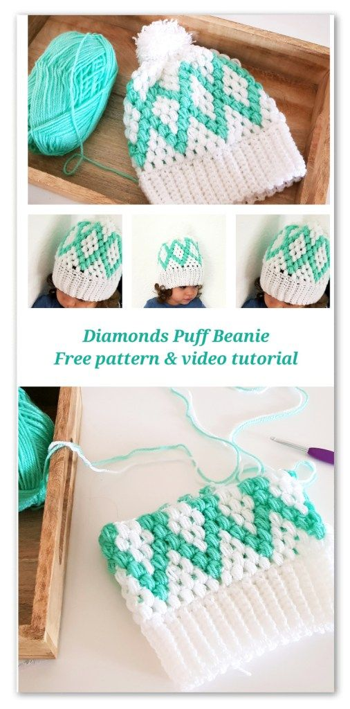 da37e7e072e Diamonds Puff Beanie. Free Pattern with chart and video tutorial for sizes  from Baby to Adult