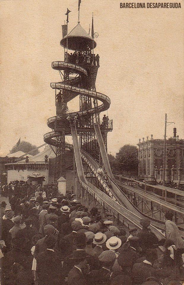 """Saturno Parc Atraccions. Parc de la Ciutadella 1911-1920.""""Tobogan Glissoir"""".   Postal ~1912.  Publicat per Giacomo Alessandro."""