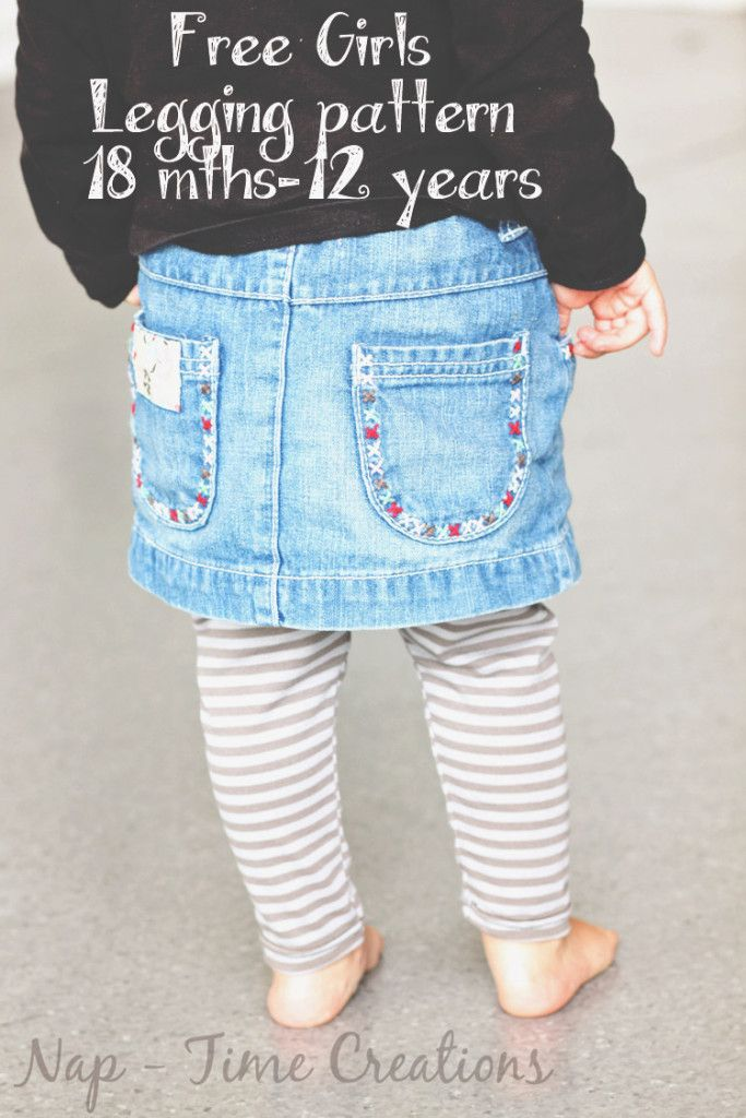 free classic legging pattern for girls, size 18mths - 12 years found on Nap-Time Creations