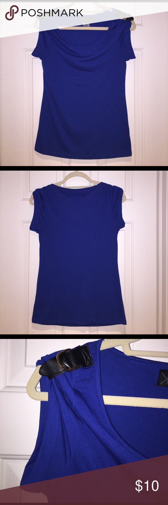 Kardashian Kollection Royal Blue Buckle Accent Top Great condition - Royal blue color with black buckles on shoulder - 62% Polyester, 38% Rayon - Pairs perfectly with a nice pair jeans/black pants Kardashian Kollection Tops