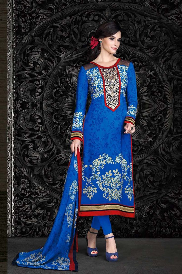 Buy Blue Crepe Churidar Suit Online on Variation. Log on to https://www.variationfashion.com/collections/churidar-suits