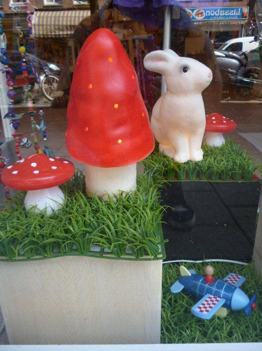 toadstools and white rabbits at Big & Belg, de winkel, kids shop in Amsterdam