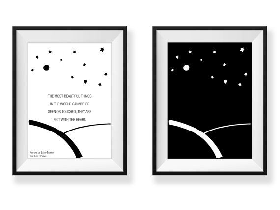 This listing includes 2 digital printables. One with graphic and one with additional quote. The most beautiful things in the world cannot be seen or