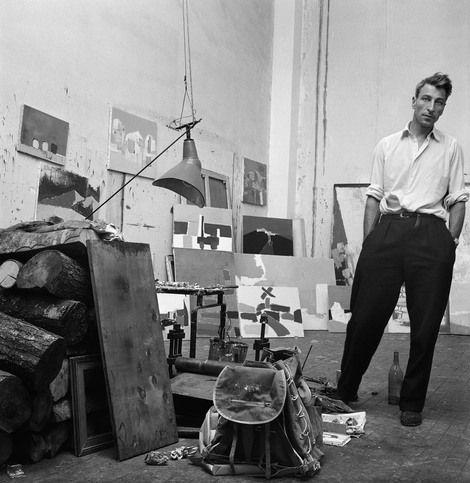 Denise Colomb, Nicolas de Staël dans son atelier, rue Gauguet, Paris, 1954