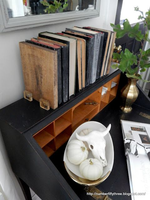 Modern rustic bookends made with furniture knobs - Jennifer Rizzo