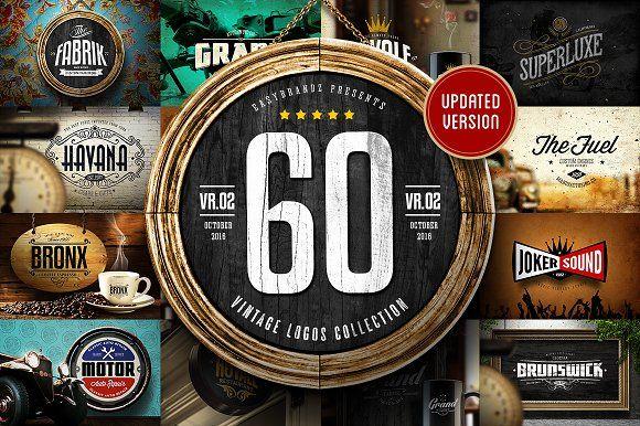 60 Vintage Logo Design Collection by Easybrandz on @creativemarket