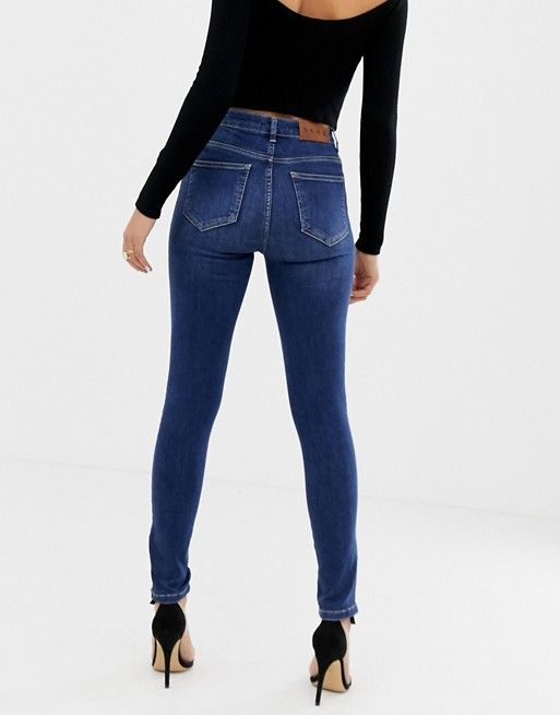 a8ab9ce2ed52 Na-kd skinny jeans with zip ankle in mid blue in 2019