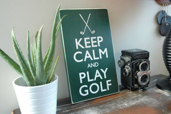 Keep Calm and Play GOLF - Golf Sports Decor Wall Hanging - 12x7 Wooden Sign for Mancave on Etsy, $33.00