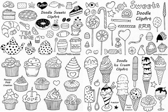 Big Set of Doodle Sweets clipart,Tea time clip art, Dessert Doodles, PNG, EPS…