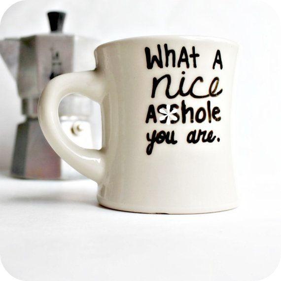 Funny Mug coffee cup diner mug black white mature by KnotworkShop, $12.00 @Nicole Novembrino Novembrino Kane